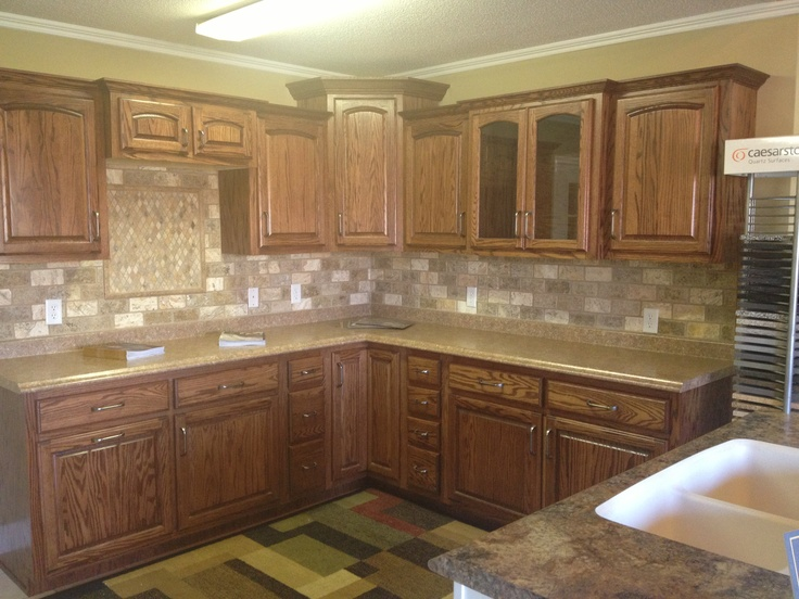 Oak Wood With Red Mahogany Stain Custom Cabinets By