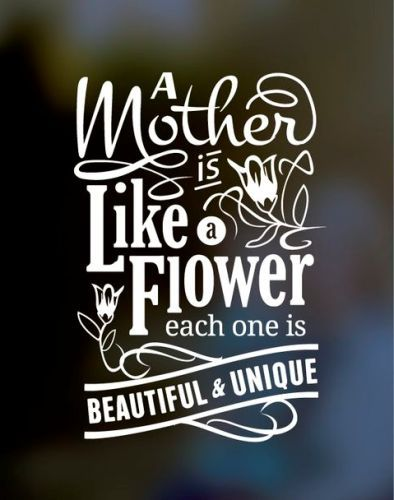 Mothers day poems wallpapers. This picture quote reads...A mother is like a flower. Each and every one is beautiful and unique.