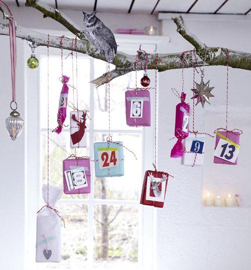 adventskalender basteln kleine geschenke am ast weihnachten pinterest adventskalender. Black Bedroom Furniture Sets. Home Design Ideas