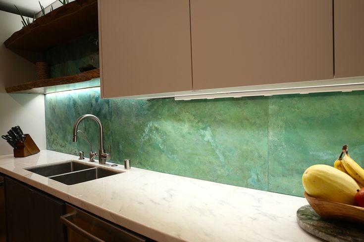 Oxidized kitchen backsplash patina created with Modern Masters Metal Effects | Project by artist Kimberly Cochran