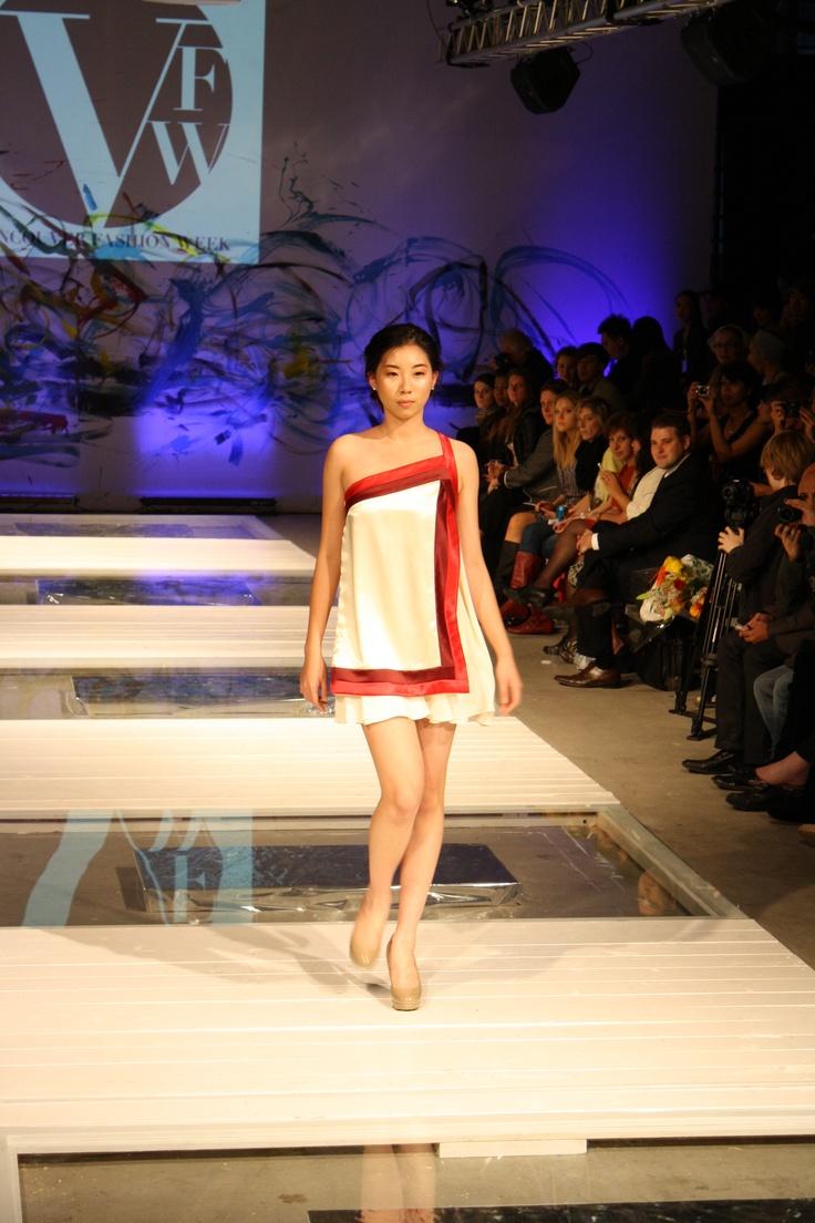 Asymmetrical satin mini dress w/ chiffon underlayer