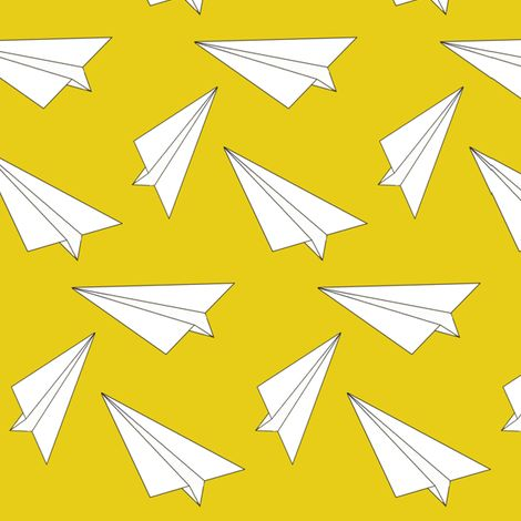 yellow paper plane - elvelyckan fabric by elvelyckan on Spoonflower - custom fabric