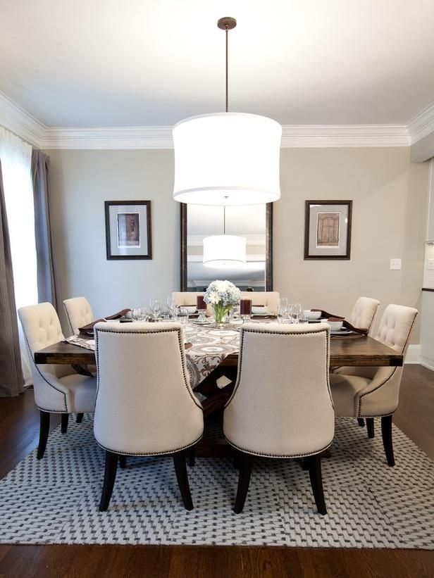 Popular makeovers from the HGTV hit series, Property Brothers -->  http://hg.tv/vyjw: Property Brothers, Dining Area, Dining Rooms Chairs, Squares, Large Dining Rooms, Hgtv Property Brother, Nice Chairs, Dining Tables, Carpet Tile