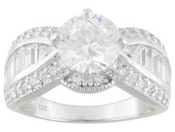 Bella Luce (R) 5.51ctw Round, Baguette And Triangle Rhodium Plated Sterling Silver Ring