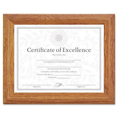 DAX Document/Certificate Frame, Wood, 8-1/2 x 11, Stepped Oak, Brown