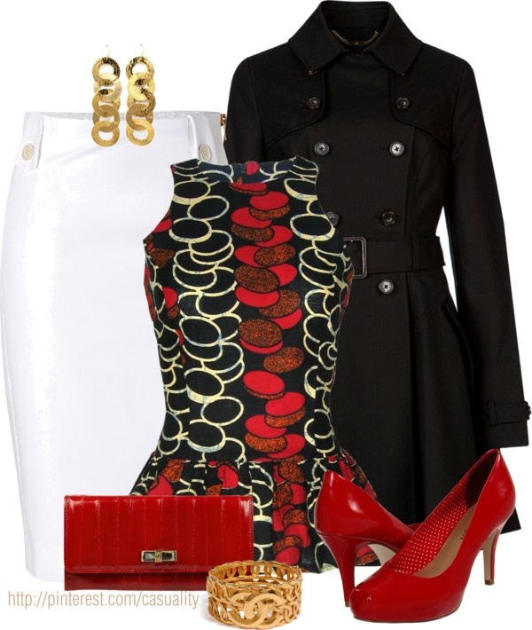 """""""African Print Peplum Top & Chanel Accessories"""" by casuality on Polyvore"""