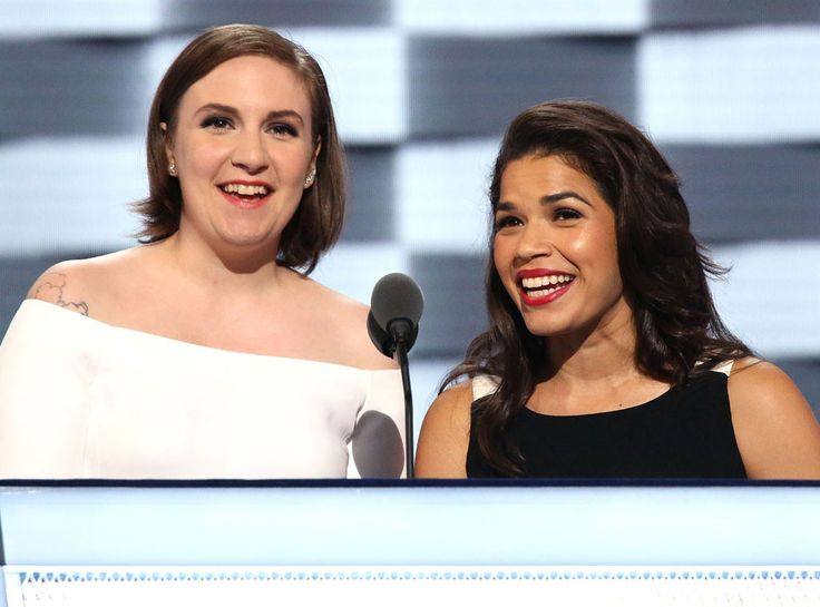 2016 Democratic National Convention from Party Pics: Global  Lena Dunham and America Ferrera speak on stage at the Wells Fargo Center in Philadelphia.