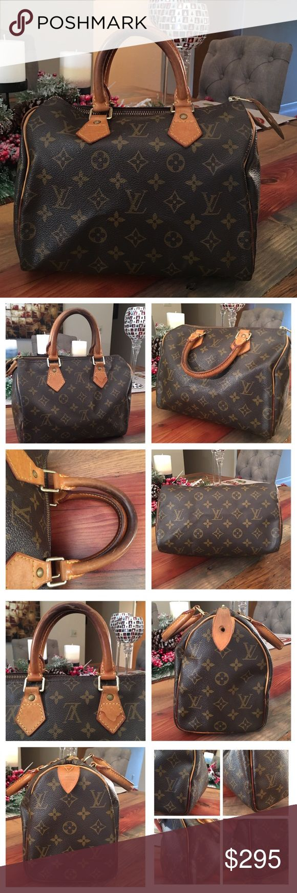 """💗HOLD FOR CRISTINA💗AUT LOUIS VUITTON SPEEDY 25 100% Authentic Louis Vuitton Speedy 25. This is a vintage bag with signs of use but tons of life left ! Monogram Canvas is in good condition no scratches or cracks. Picture 3 shows the corners, some wear, scuffs but no exposed piping 👍🏻 Handles have turned into a dark patina and have scratches but no cracks. Pic 3 shows a stain in a part of the leather. Zipper works properly.  Inside and pocket is clean. Made in France. W9.84""""x H7.48""""…"""