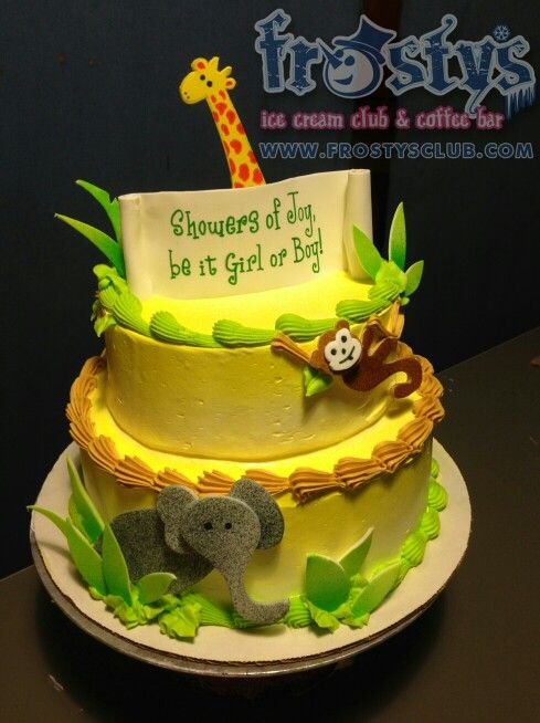 Jungle theme baby shower ice cream cake