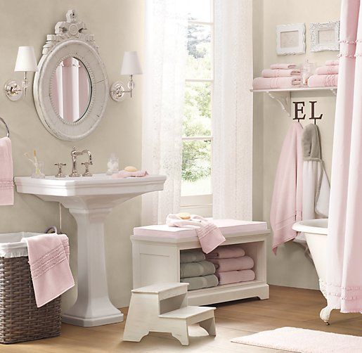 pink bathroom storage bench 3