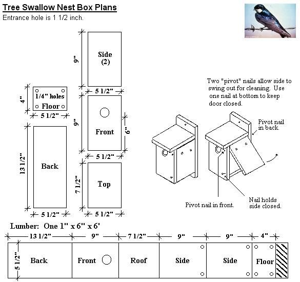 Tree Swallow Bird House Plan Birdhouses Pinterest