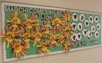 March bulletin board/project. Combine with writing-ask what does March comes in like a lion and goes out like a lamb mean?