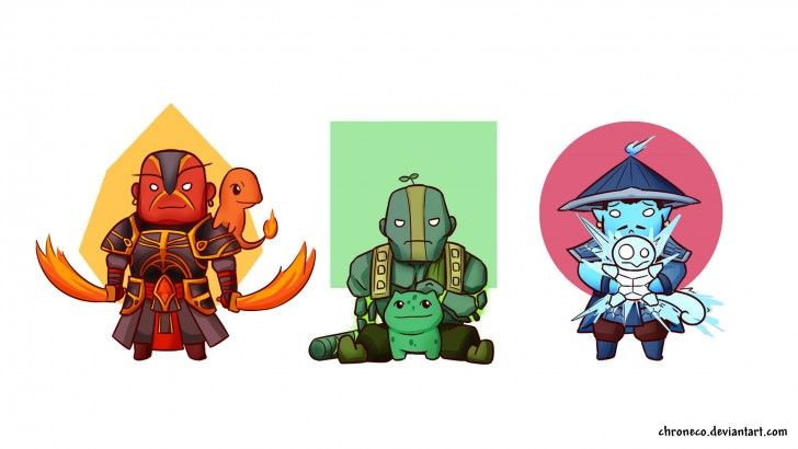 Dota 2 - Ember, Earth and Storm Spirit (with their starter pokemon XD)