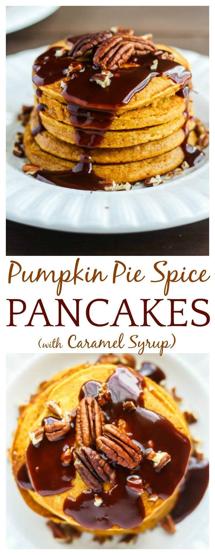 After falling in love with sweet potato pancakes, it was time to finally try pumpkin pancakes! This recipe for Pumpkin Pie Spice Pancakes with Caramel Syrup is amazing! The pancakes are fluffy, moist, and full of delicious fall flavors.| #pumpkin #pumpkinspice #pumpkinpancakes #pancakes #breakfast #brunch #fallrecipes #DLB #comfortfood