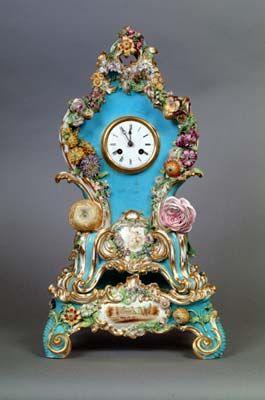 Coalport Porcelain, Coalbrookdale-style Clock and Stand c.1837. Shrewsbury Museums Service