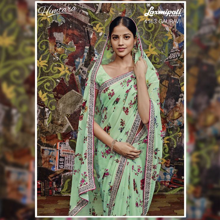 Recreate the Ultimate Fashion by draping this alluring & trendy mint Green & Multi coloured #georgette #saree which will let you be the Cynosure of all eyes creating an aura all around at any event.  #Bollywood #Style #Wedding #Fashion #Sarees #Ethnic #HIMTARA0616
