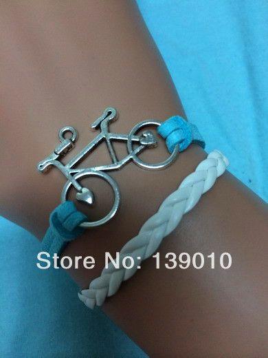 Aliexpress роскошь белый синий кожаный замша плетеный винтаж велосипедов браслет браслеты персонализированные мода женщины мужчины ювелирные изделия