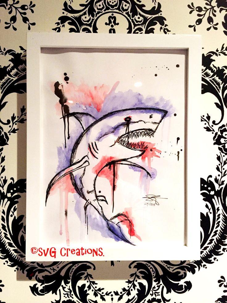 Requin peinture abstraite à l'aquarelle 9 x 12 / Shark watercolor absract painting 9 x 12 de la boutique SVGCreations13 sur Etsy