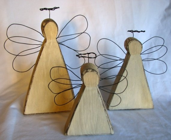 Primitive wooden angels from Etsy
