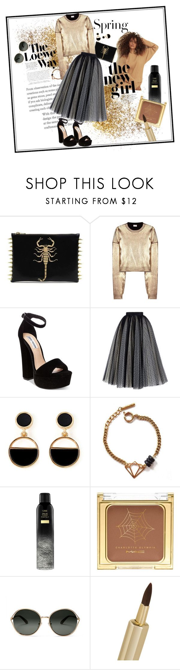 """""""Gold brass"""" by britt-catlynne-weatherall on Polyvore featuring H&M, Yves Saint Laurent, Steve Madden, Philosophy di Lorenzo Serafini, Warehouse, Tilly Doro, Loewe, MAC Cosmetics, TOMS and By Terry"""