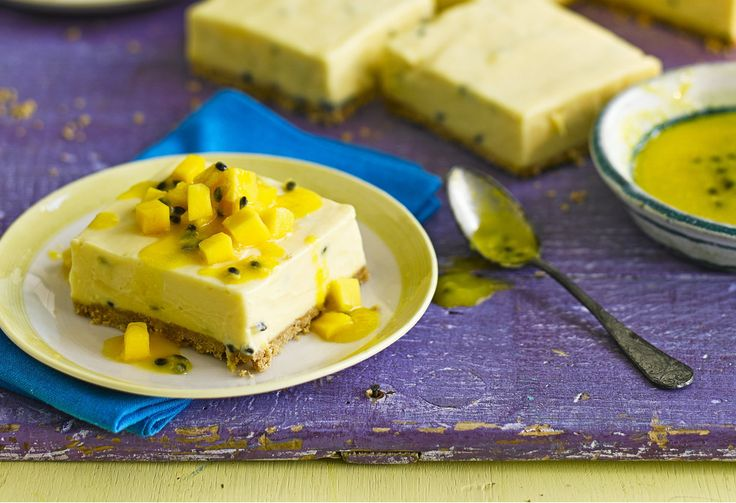 We've turned this tangy Brazilian mousse pudding into a traybake cheesecake with biscuit base and gelatine to help with slicing.