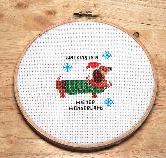 Discover everything Dachshund in this link: https://www.etsy.com/shop/PinoyStitch/search?search_query=dachshund&order=date_desc&view_type=gallery&ref=shop_search  I wanted a Christmas cross stitch project that was fun and easy to make in one sitting. This was designed for just that. The model was stitched in half a day. Great for framing in a whimsical frame or on a 5 hoop. Also works on a 4 inch hoop as an ornament. Mini Cross Stitch Pattern: Dachshund Wiener Wonderland Design Source: Pinoy…