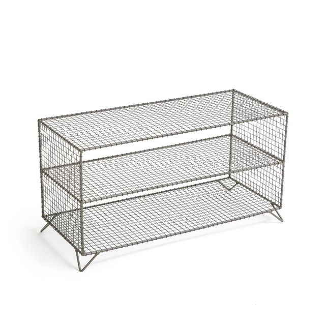 Areglo Metal Wire Low Shelf Unit In 2020 Wire Shelving Low