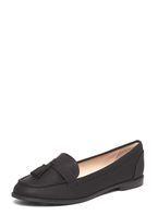 Womens Wide Fit Black PU 'Logan' Loafers- Black
