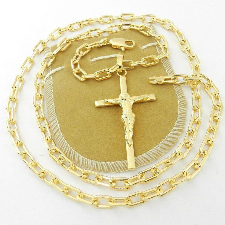 Corrente Masculina 60cm 5mm Cartier Cruz Folheada Ouro CR624