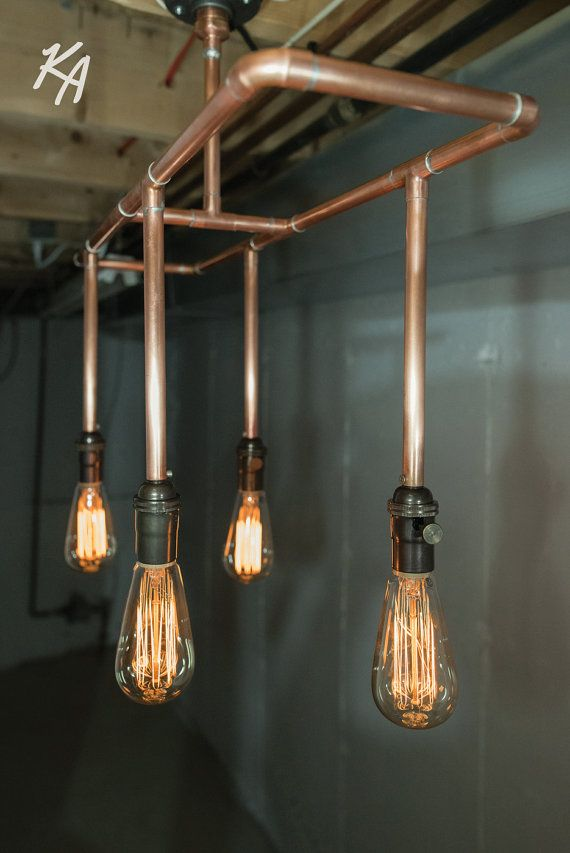 Copper Pipe Light Fixture Chandelier by KineticAdditions on Etsy