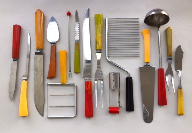 Collection of Cool Bakelite Kitchen Utensils by COLLECTEDandCompany on Etsy https://www.etsy.com/listing/255762761/collection-of-cool-bakelite-kitchen