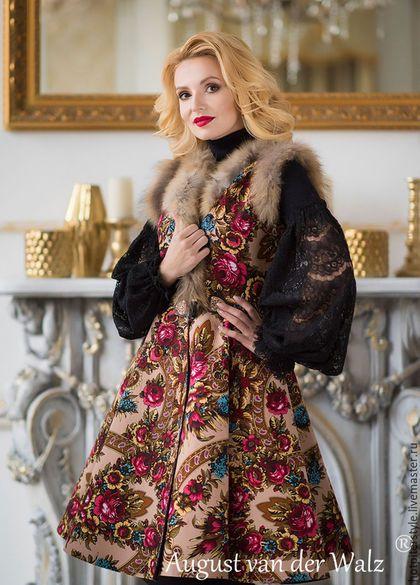 Пальто в Русском стиле, сшито из Павлопосадского платка, дизайнер August van der Walz . Пальто в наличии и пошив по индив. заказу. Эксклюзивные платья, пальто, жилетки - сделано в Санкт-Петербурге