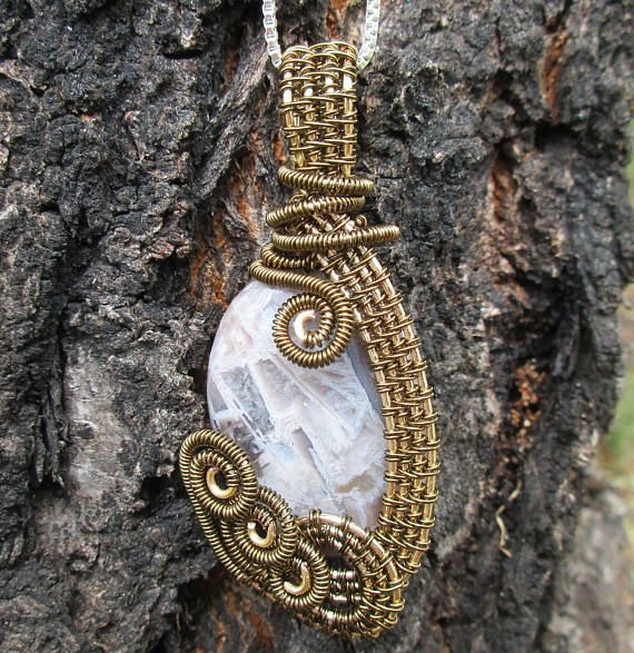 Silver Needle Agate Wire Wrapped Pendant in Gold-and