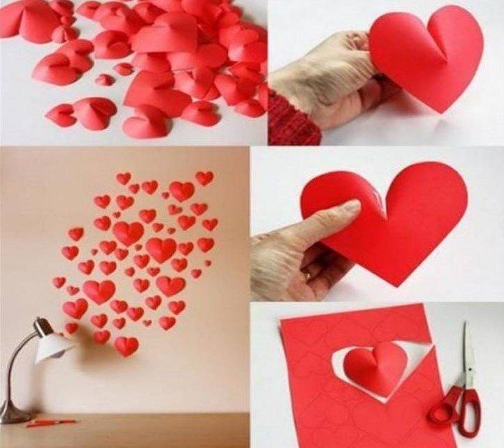 Decorar paredes con corazones realizando manualidades para niños