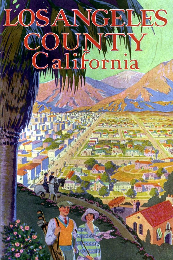 Beautiful! Vintage Travel Poster: Los Angeles County, California