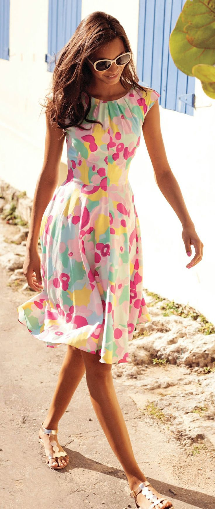 summer floral dress paired with silver flats, pretty, beautiful,