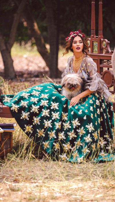 Sangeet Lehengas - Green Silk Lehenga with Golden Floral Embroidery | WedMeGood Outfit by: Papa Dont Preach #wedmegood #indianbride #indianwedding #bridal #lehenga #green #sangeetlehenga #papadontpreach #silk