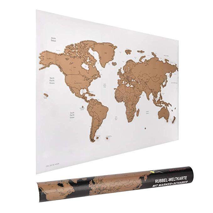 Amazon De Ewtshop Rubbel Weltkarte 60 X 40 Cm Mit Marker Und