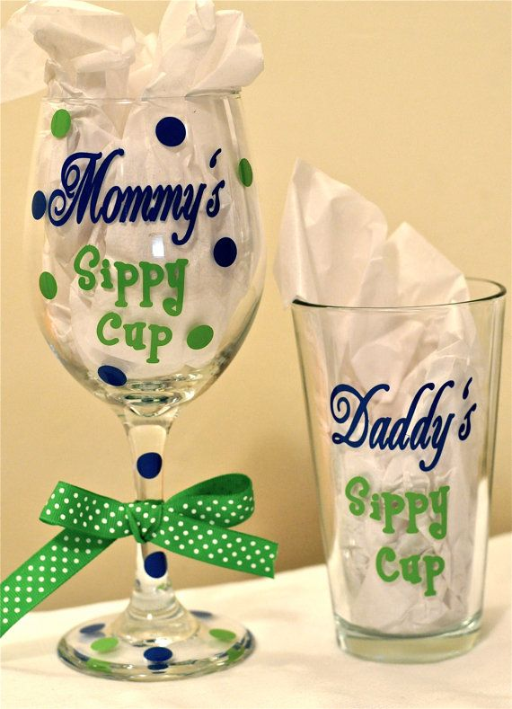 Baby Gifts For Couples : Mommy and daddy sippy cups by alwayssassy on etsy