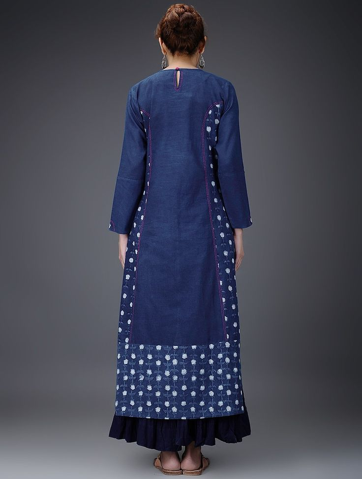 Buy Indigo White Embroidered Dabu Printed Cotton Kurta Women Kurtas Online at Jaypore.com