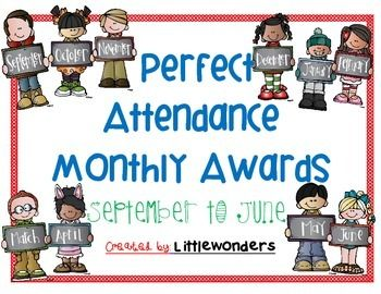 Reward your kiddos for attending school with these fun, monthly themed Perfect Attendance Awards.September-June Awards are included in this pack! :)