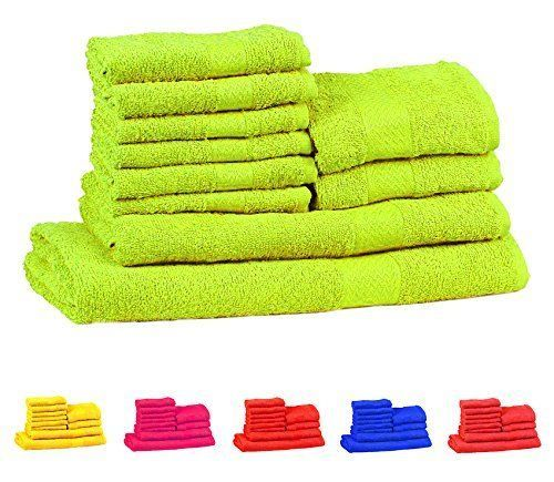 10 Pieces Cotton Neon Green Towel Gift Set Bathroom New Free Shipping #TRIDENTGROUP