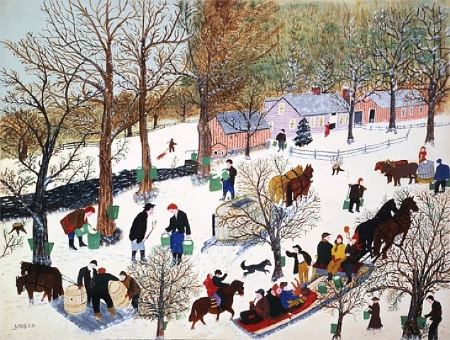 Last Run of Sap by Grandma Moses from Galerie St. Etienne