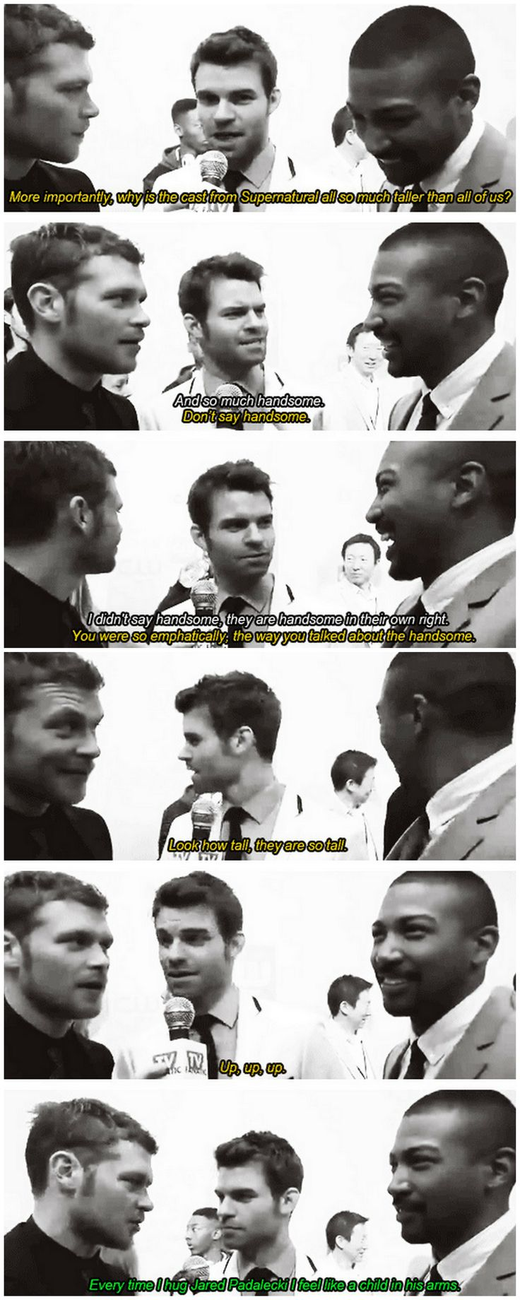 [gifset] Okay so this isn't SPN cast, but it's just perfection <3  The Origanals cast #JosephMorgan #DanielGillies #CharlesMichaelDavis at the #CWUpfronts14