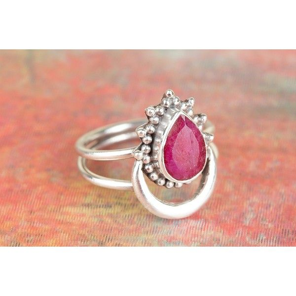 Amazing 925 Sterling Silver Ruby Gemstone Ring via Polyvore featuring jewelry, rings, gemstone jewellery, ruby gemstone jewelry, gem rings, ruby gemstone rings and sterling silver ruby jewelry