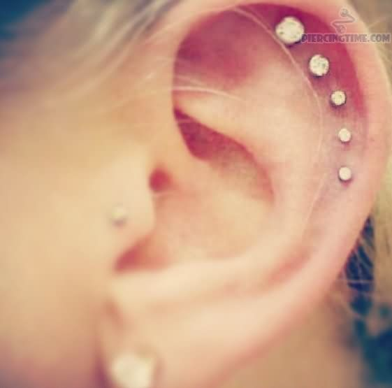 Scapha Ear Piercing With Diamond Studs