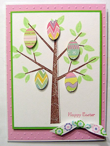 handmade Easter card .. Season of frienship ...  adorable die cut tree with Easter egg ornaments ...