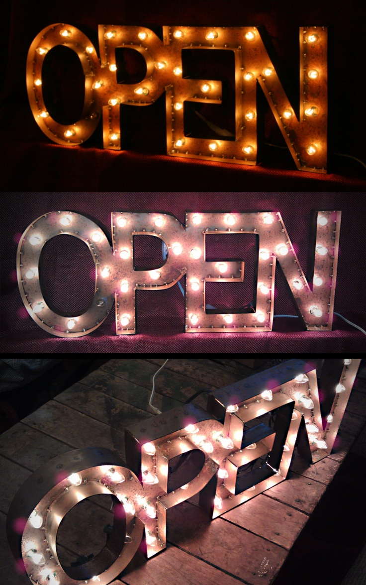 These have a really neat design. flashy too AllInOne OPEN SIGN Small by littlefishdesigns on Etsy, $250.00
