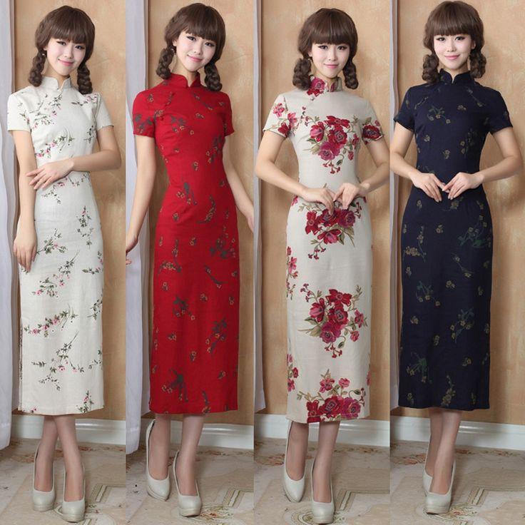 Mulheres Chinesas Vestido Longo Cheongsam de Linho do vintage Elegante Cheongsam Longo Qipao China Vestido Tradicional