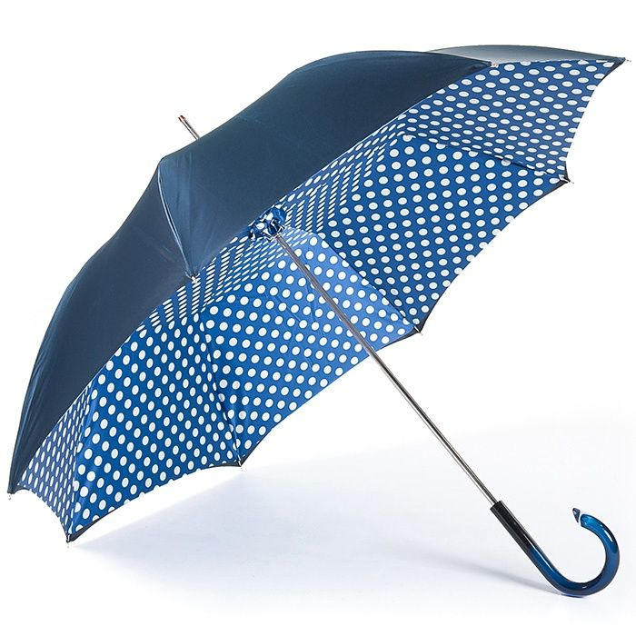 Navy Polka Dots Double Canopy Luxury Umbrella by Pasotti - Brolliesgalore